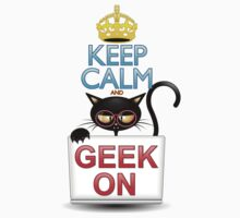 Keep Calm and Geek on! Cartoon Cat Kids Clothes