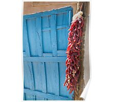Red Chilies, Blue Door Poster