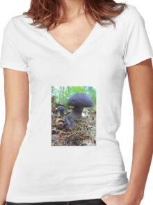 Mushrooms Women's Fitted V-Neck T-Shirt