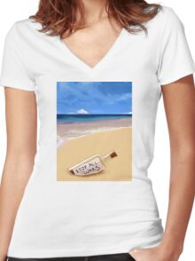 Message in the bottle Women's Fitted V-Neck T-Shirt