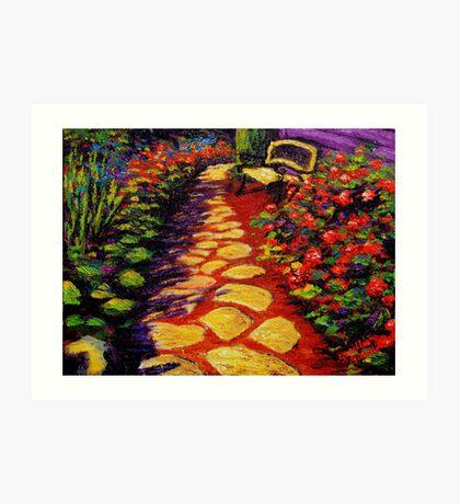 Bench & Stone Garden Pathway Art Print