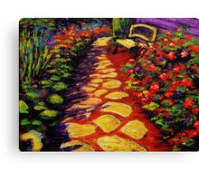 Bench & Stone Garden Pathway Canvas Print