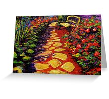 Bench & Stone Garden Pathway Greeting Card