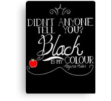 Black is my colour (white font, English spelling) Canvas Print
