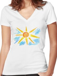 Hand Drawn Sun and Clouds Women's Fitted V-Neck T-Shirt