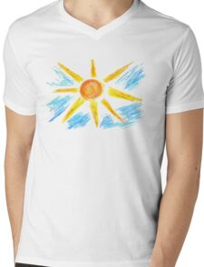 Hand Drawn Sun and Clouds Mens V-Neck T-Shirt