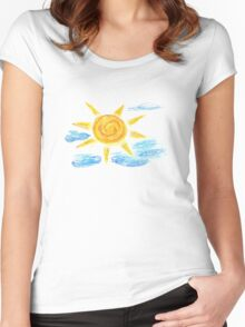 Hand Drawn Sun and Clouds 2 Women's Fitted Scoop T-Shirt