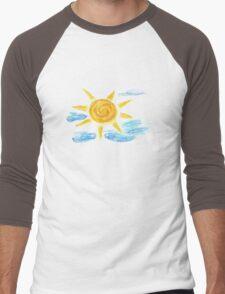 Hand Drawn Sun and Clouds 2 Men's Baseball ¾ T-Shirt
