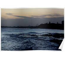 Glasshouse Mountains from Kings Beach Poster