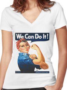 Rosie the Riveter Tshirt Women's Fitted V-Neck T-Shirt