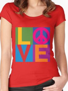 Color Block LOVE=Peace Women's Fitted Scoop T-Shirt