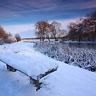 A bench with a winter view. by Andrew Leighton