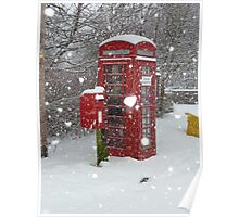 Red Telephone Box. Winter. England. Poster