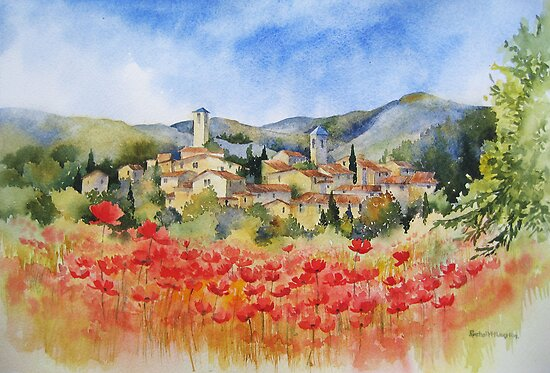 Poppies in Provence by artbyrachel