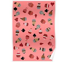 Deck Of Cards Cup Cakes pink Poster