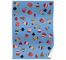 Deck Of Cards Cup Cakes blue Poster