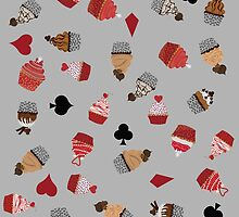 Deck Of Cards Cup Cakes grey by Craicin Designs