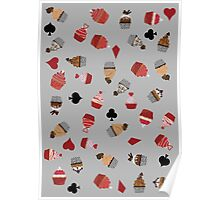 Deck Of Cards Cup Cakes grey Poster