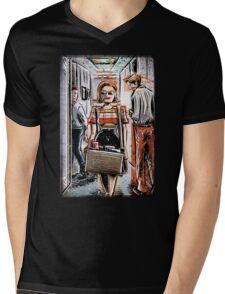 Mad Men Peggy Olson Art lost horizon joe badon Elisabeth Moss Don Draper Sterling Cooper Ad Advertising AMC Female Girl Smoking Red Mens V-Neck T-Shirt