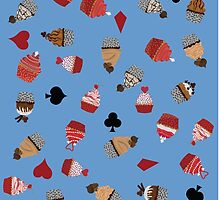 Deck Of Cards Cup Cakes blue by Craicin Designs