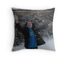 Snowball fight!!!!! Throw Pillow
