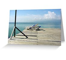 Beach chairs on the deck Greeting Card