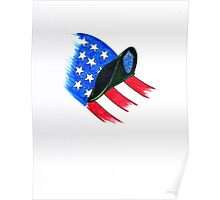 U S Army Beret with flag Poster