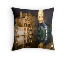 Bruges at Night Throw Pillow