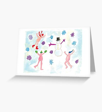 little nudists building a snowmen Greeting Card