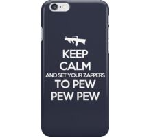 Starkid: Keep calm and set your zappers to pew pew pew (white) iPhone Case/Skin