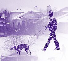 Walking The Dog In The Snow by Ruth Palmer