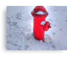Fireplug in the snow Canvas Print