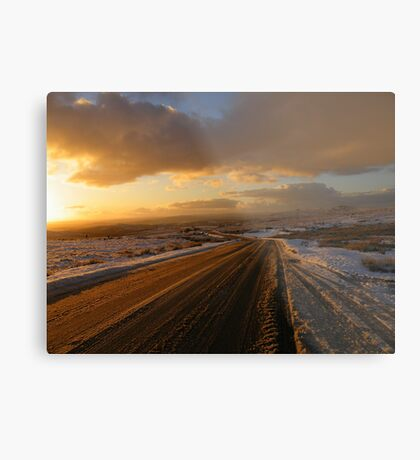Dartmoor: The Road Across the Moor - Time to go Home Metal Print