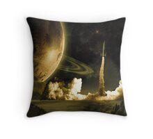 Vintage Rocket Launch Throw Pillow