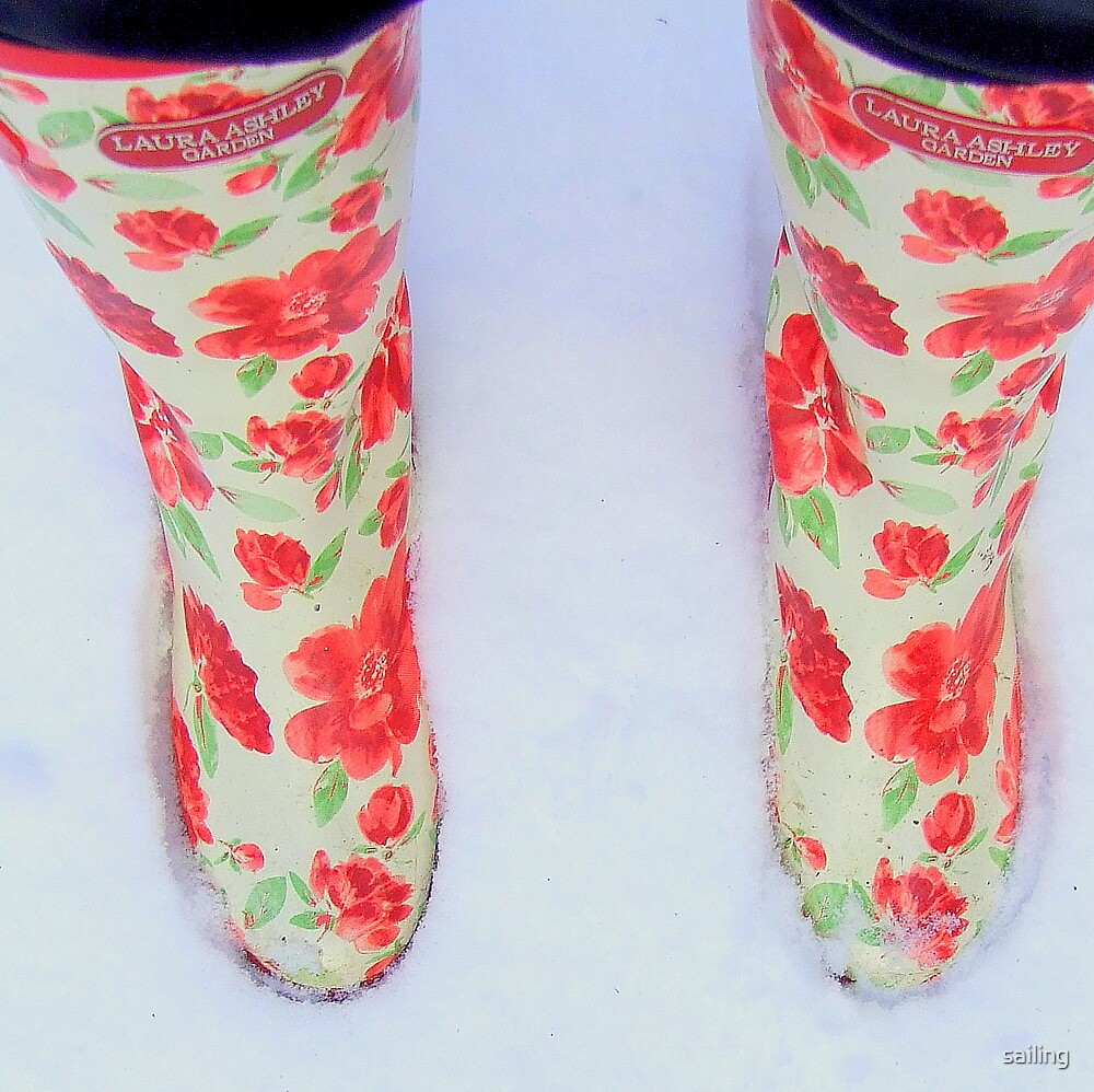 beautiful boots in crisp white snow by sailing