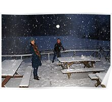 Snowball fight at Glentress near Peebles Poster
