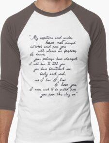 Pride and Prejudice, Darcy (black) Quote  Men's Baseball ¾ T-Shirt