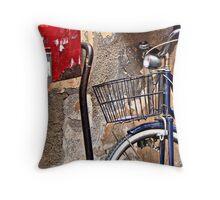 Bike against the Wall Throw Pillow