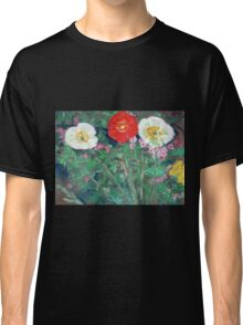 Red and White Poppies in Garden Classic T-Shirt