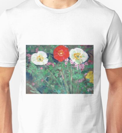 Red and White Poppies in Garden Unisex T-Shirt