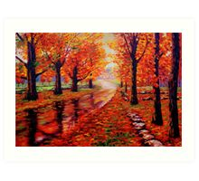 Rainy Maple Road Art Print