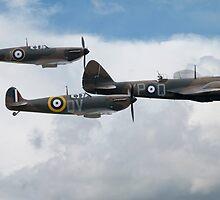 Spitfires and Bristol Blenheim by J Biggadike