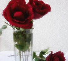 Dark Red Roses in Glass by Christopher Johnson