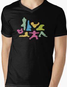 Rainbow Yoga Pattern Mens V-Neck T-Shirt