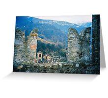 Bellinzona. Castelgrande Castle Wall. Ticino, Switzerland 2005 Greeting Card
