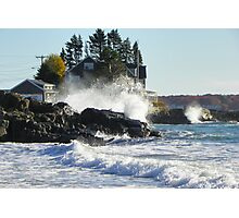 Kennebunk Maine Beach - Storm Waves Photographic Print