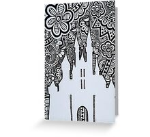 Castle Silhouette Zentangle Greeting Card