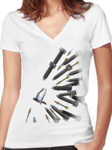 every one hates pidegeons Women's Fitted V-Neck T-Shirt
