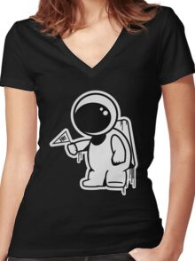 Lonely Astronaut Women's Fitted V-Neck T-Shirt