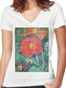 Red Poppies Women's Fitted V-Neck T-Shirt